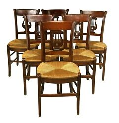 Chairs, Dining, French Lyre, 6 Six Back Rush Seat, Vintage, Fruitwood Finish