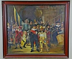 Antique Painting, Oil, 1800's, Dutch Dignitaries,  The Night Watch Signed