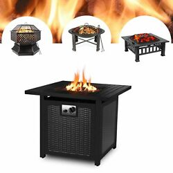 Patio Fire Pit Heater Outdoor Wood Burning Propane Gas Firepit Bonfire Bbq Table