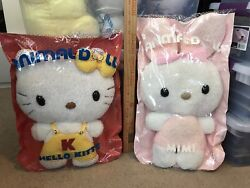 Super Rare Vintage Sanrio Hello Kitty And Mimi Large Terry Cloth Flat Plushes 1976