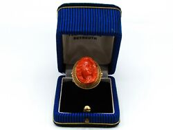 Old Real Antique Natural Huge Red Coral Beads Ring Collection Amazing Piece 18k
