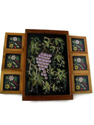 Vintage Embroidered Velvet Jewel Coasters And A Serving Tray Under Glass In Wood