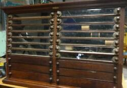 Rare Antique Eureka Silk And Spool Cabinet 14 Glass Drawers - 6 Wooden Drawers