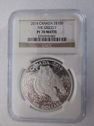 2014 Canada Silver 100 The Grizzly Graded Pf70 Matte By Ngc