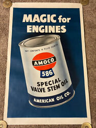 Original 1950's Amoco 586 Oil Can Advertising Poster, Rolled, 27x44