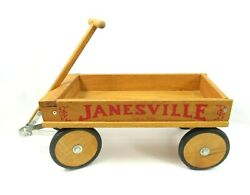 Janesville Wisconsin Wagon Co Wood Pull Wi Tag-a-along Usa Made Rubber Wheels