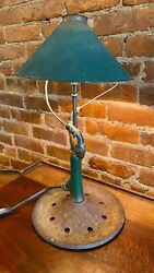 Lamp_1950's Iron Rain King Lawn Sprinkler- Brass Nozzles And Gas Station Shade