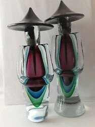 Rare Murano Sommerso Oriental Couple Signed By Luigi Onesto - 19 And 17