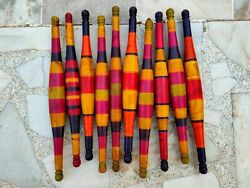 Indian Old Wooden Lacquer Painted Bread Rolling Pin Chapati Roller 10 Pc