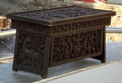 Antique Wooden Hand Made Dragon Carved  Table Bird Floral Carved Laptop Table