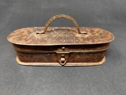 Antique Iron Tribal Tool Box Hand Forged Engraved Design Pencil Box Old Unique