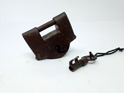 Antique Solid Iron Padlock Hand Carved Spring System Pad Lock Original Painted