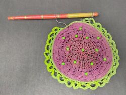 Vintage Ethnic Thread Beads Work Hand Fan Lacquer Pained Wooden Handle