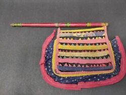 Antique Ethnic Textile Work Hand Fan Wooden Carved Lacquer Painted Handle