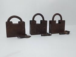 Antique Iron Screw System Padlock Hand Crafted Carving Pad Lock 3 Pc Collectible