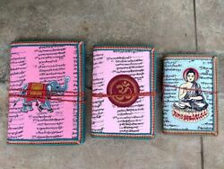 Hand Made Paper Note Book Indian Journal Paper Diary Elephant Om Buddha Print 3p
