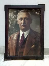 Vintage Original Man Painting On Photo Old Big Painting Framed Collectible Deco