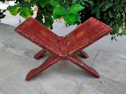Wooden Antique Book Stand Original Old Unique Book Stand Hand Panted Collectible