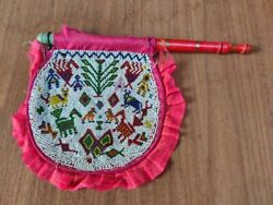 Antique Beads Work Fan Floral Horse Bird Cow Figure Hand Hold Fan Ethnic Textile