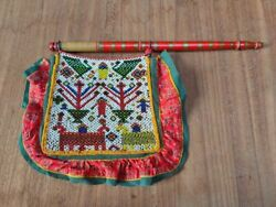 Old Beads Work Hand Fan Floral Horse Bird Floral Figure Hand Fan Ethnic Textile