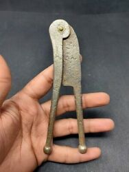 Antique Iron Brass Work Betel Nut Cutter Sarota Hand Forged Old Collectible