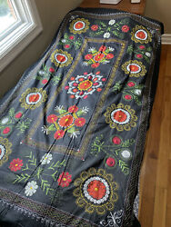 Afghan Pakistan Russian Embroidered Fabric Hand Made Cover Blanket Wall Display