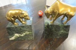 Vintage Brass Bull And Bear On Green Marble Bookends Stock Market Wall Street