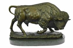 Signed Hot Cast Bronze Marble Statue American Buffalo Bison Animal Sculpture
