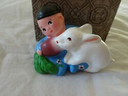 Vintage Chalkware Cinese Boy With Bunny Rabbit For Easter Signed In Box