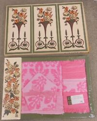 Rare Vintage60s Nib Bath Towel Gift Set, Pink Floral, Never Opened, Cannon