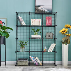 12 Cube Shelves Organizer Metal Wire Cube Storage Bins DIY Closet Cabinet Black