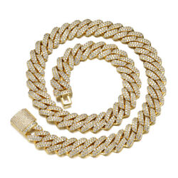 Beautiful Yellow Gold Plated 925 Sterling Silver Moissanite Cuban Chain 22 Inch