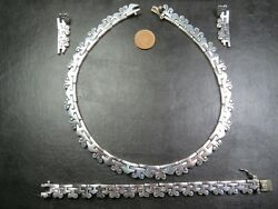 Heavy Vintage Mexican Sterling Silver Necklace Earrings And Bracelet Suite C.2000