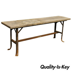 Antique Industrial Wood Slat Steel Metal Work Bench By Angle Steel Stool Co A