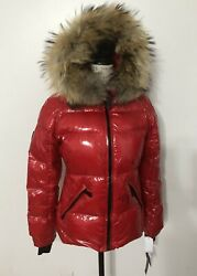 NWT Women#x27;s SAM. New York Blake Fur Trim Lacquered Short Down Jacket Large Jet $225.00