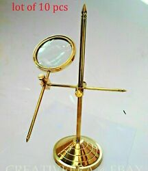 Nautical Vintage Brass Table Magnifier Magnifying Reading Glass With Stand