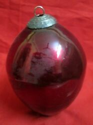 Vintage Glass Beautiful Design Maroon Color 6and039and039 Big Kugel Christmas Ornament
