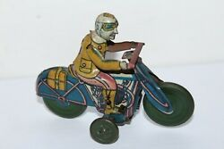 Vintage 1930's Or 40's Rico Tin Litho Wind Up Motorcycle With Civilian Driver