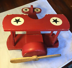Large Vintage Airplane Wooden With A Spinning Propeller Red Color Heavy