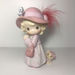 Precious Moments Sisters In Purple 119435 Pretty With Pink Bonnet, Feathers, Cat