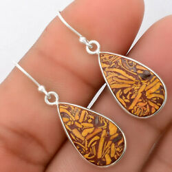 Natural Coquina Fossil Jasper - India 925 Sterling Silver Earrings Jewelry 1738