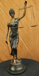 Real Bronze Metal Statue With Marble Lady Blind Justice Scales Lawyer Figurine