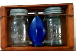 Vintage Square Ball Perfect Mason W/zinc Lids And Milk Glass Inserts. Clear Pints