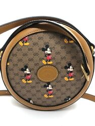 New Disney Mickey Mouse Round Bag Printed Mini Gg Canvas Limited Edition