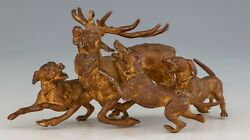 Antique Viennese Bronze - Hart With Hounds