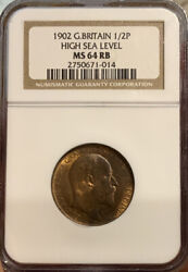 Half Penny 1902 High Sea Level Ngc Ms 64 Rb Great Britain 1/2p