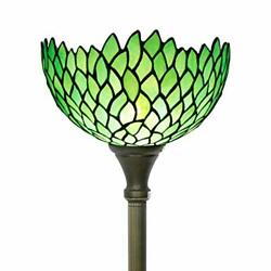Floor Lamp Torchiere Style Up Lighting W12h66 Inch Green Stained Glass W