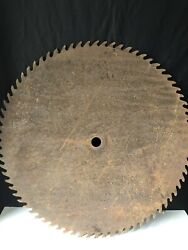 """Vintage Sawmill Blade 27 1/2"""" Nice Patina Lots Of Pitting Construction Primi"""