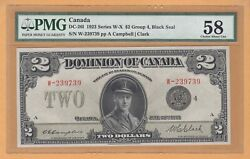 Dominion Of Canada 2 Dollars Pmg-58 Au 1923 Dc-26l / P-34l Letter A Banknotes