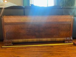 Authentic 1920s Art Deco Full Size Fits Queen Too Bed - Headboard, Footboard,